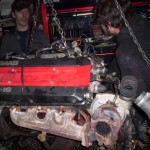 Me and Rick Mid pulling the motor to replace a blown trans on the Green monster, AKA the first documented T5 c900 in the USA.
